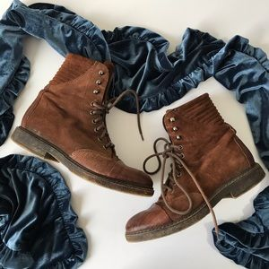 Free People Brown Lace-Up Combat Boots
